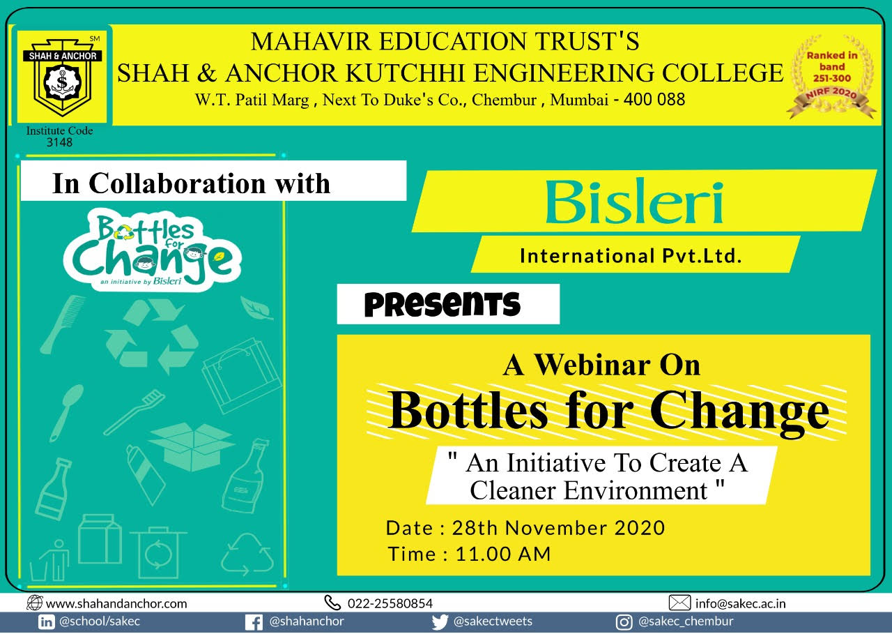 Bottles for Change - An initiative to create a Cleaner Environment
