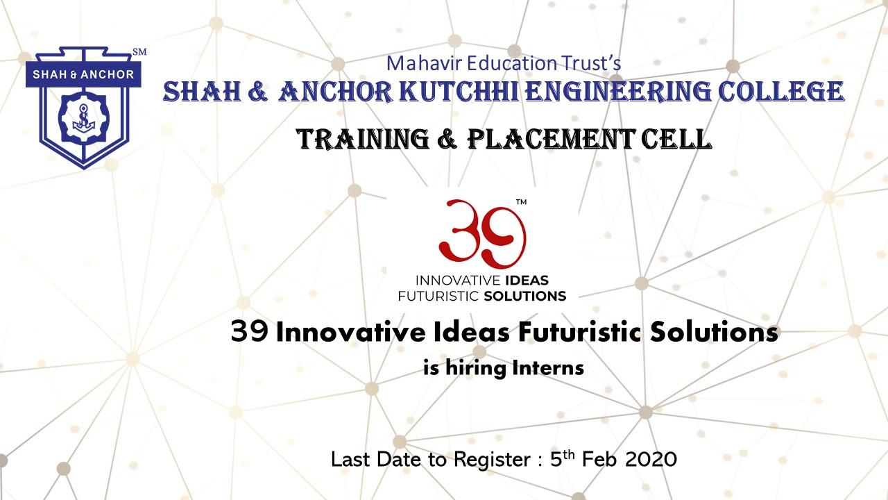 Internship Opportunity at 39 Innovative Ideas Futuristic Solutions – 39 IIFS