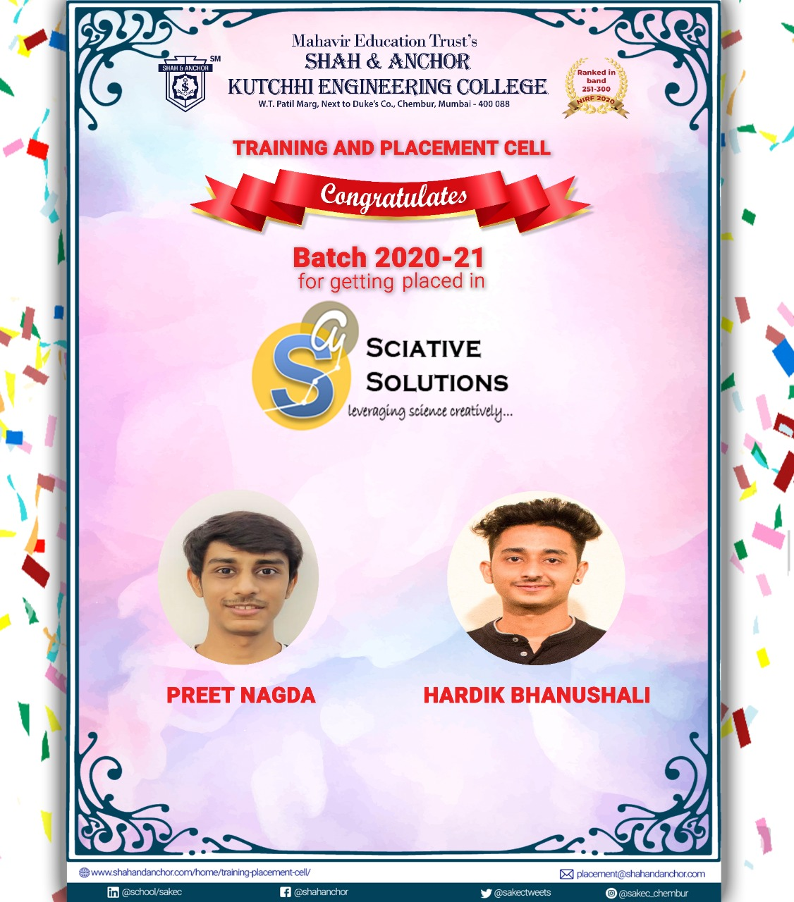 Sciative Solutions placed batch 20-21