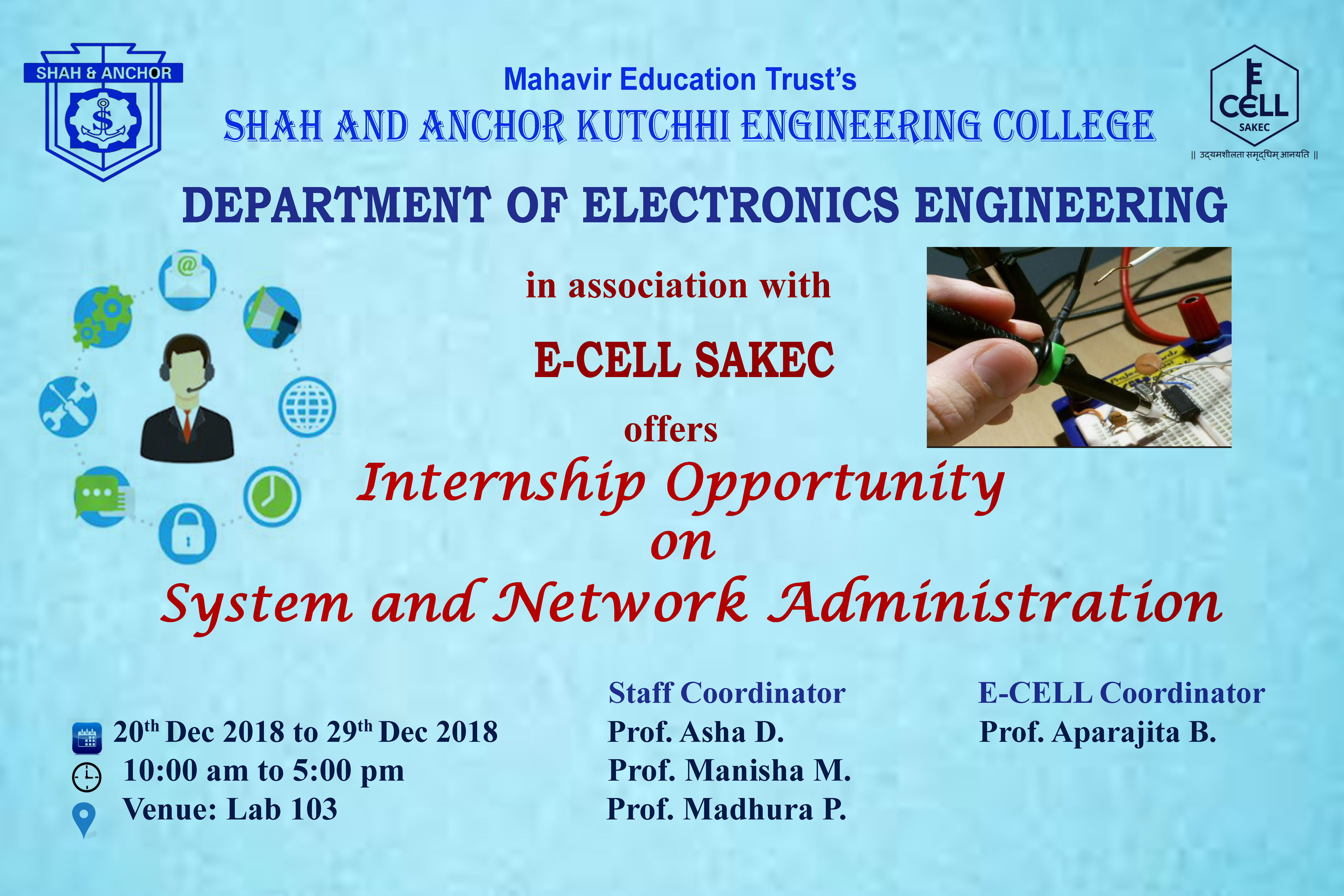 AN INTERNSHIP OPPORTUNITY ON SYSTEM AND NETWORK ADMINISTRATION