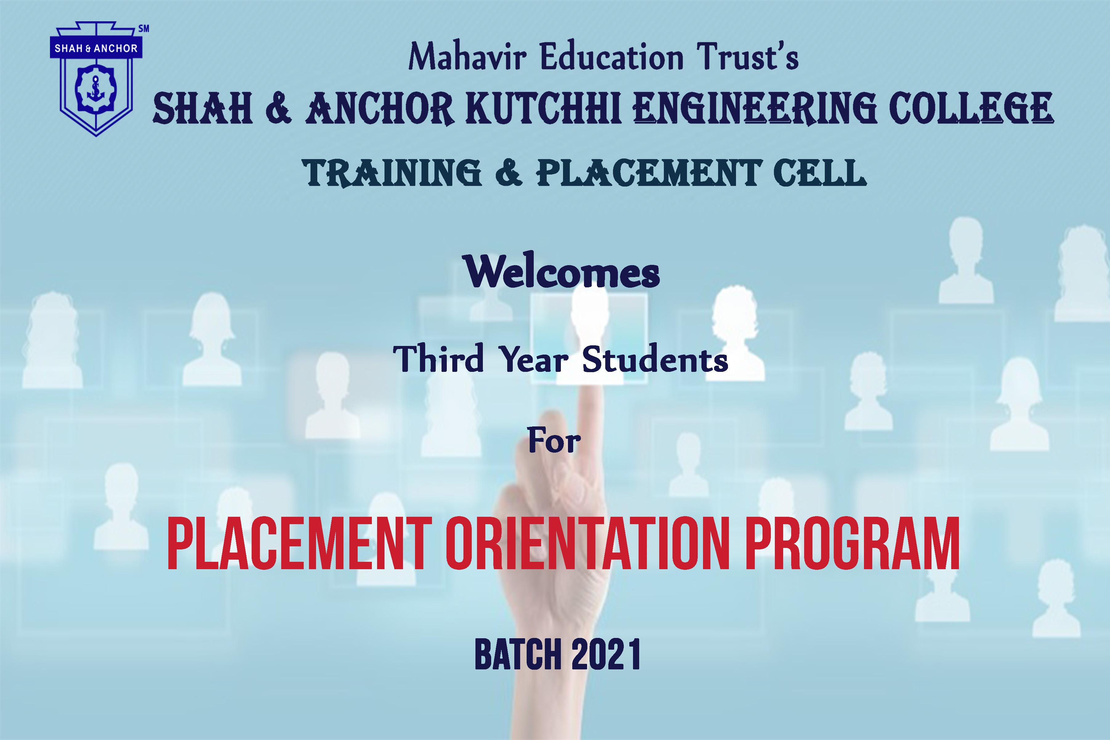 Placement Orientation for 2021 Batch