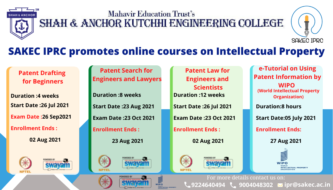 Online Courses on Intellectual Property From NPTEL and WIPO
