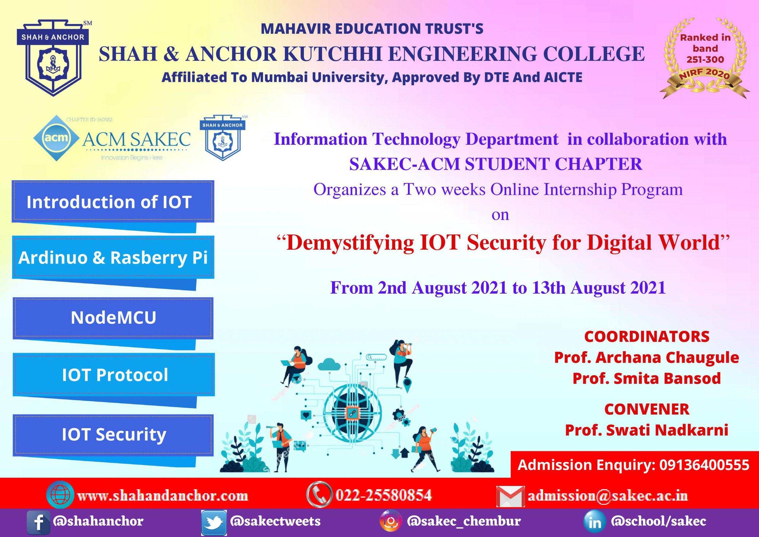 "Two weeks Internship Program on ""Demystifying IOT Security for Digital Word"""