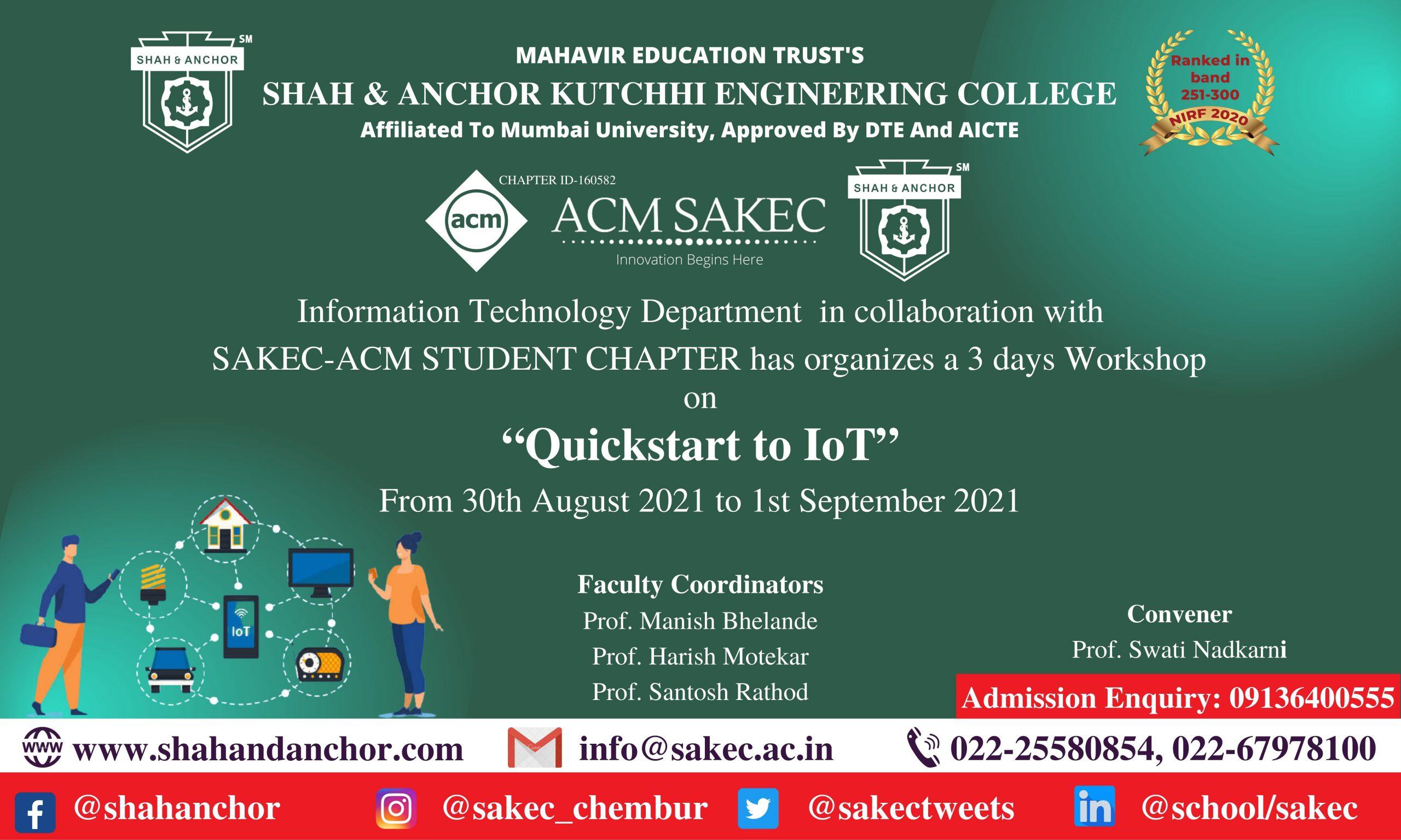 3 days Online Workshop on Quickstart to IOT